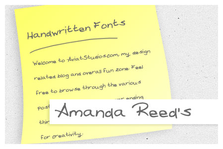 Free Handwritten Font Collection - Amanda Reed's