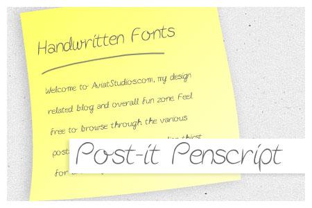Free Handwritten Font Collection - Post-it Penscript