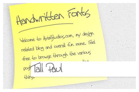 Free Handwritten Font Collection - Tall Paul