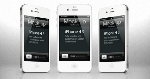 Free Templates For Busy Designer - iPhone 4s PSD Vector Mockup Template