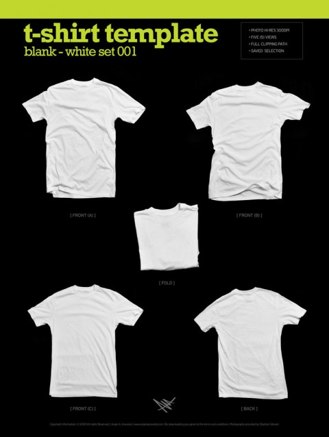Free Templates For Busy Designer - Blank White T-Shirt Mockups
