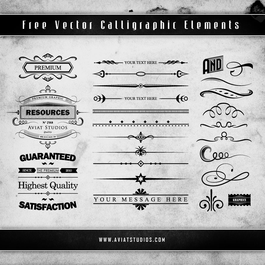 Free Vector Calligraphic Elements Preview