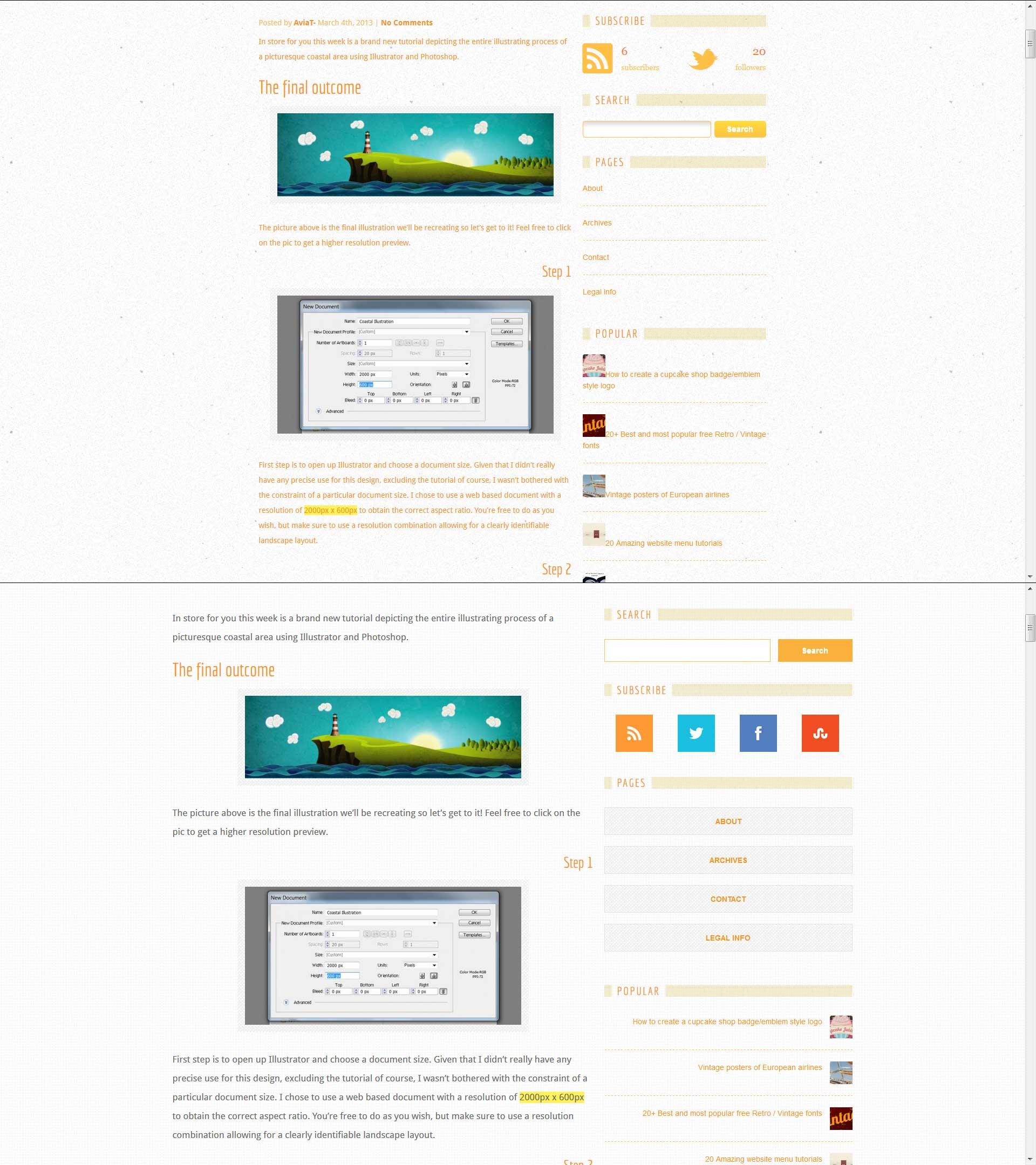 Single Page Website Screens