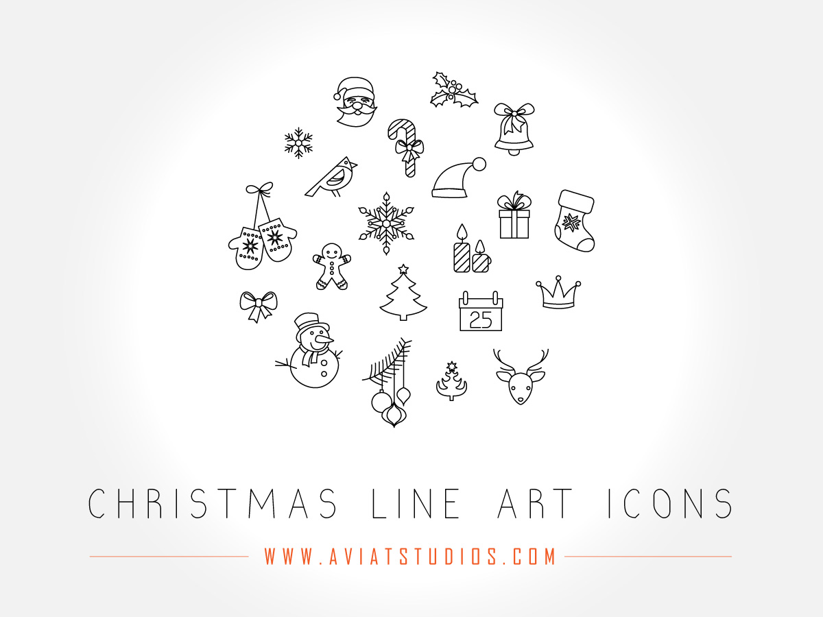 Free Christmas Line Art Icons Preview