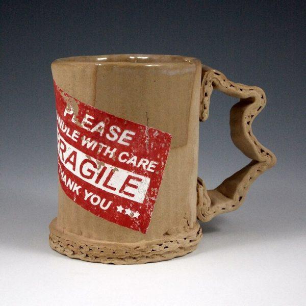 Ceramic Mugs Imitating Used Cardboard by Tim Kowalczyk