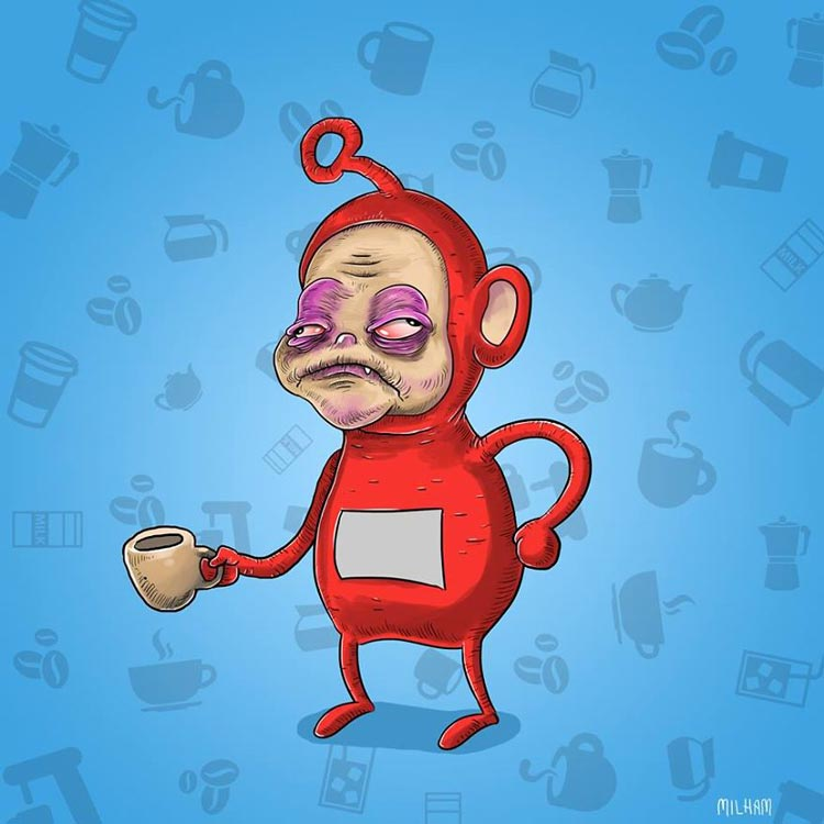 Sam Milham Illustrates Cartoon Characters Before their Morning Coffee