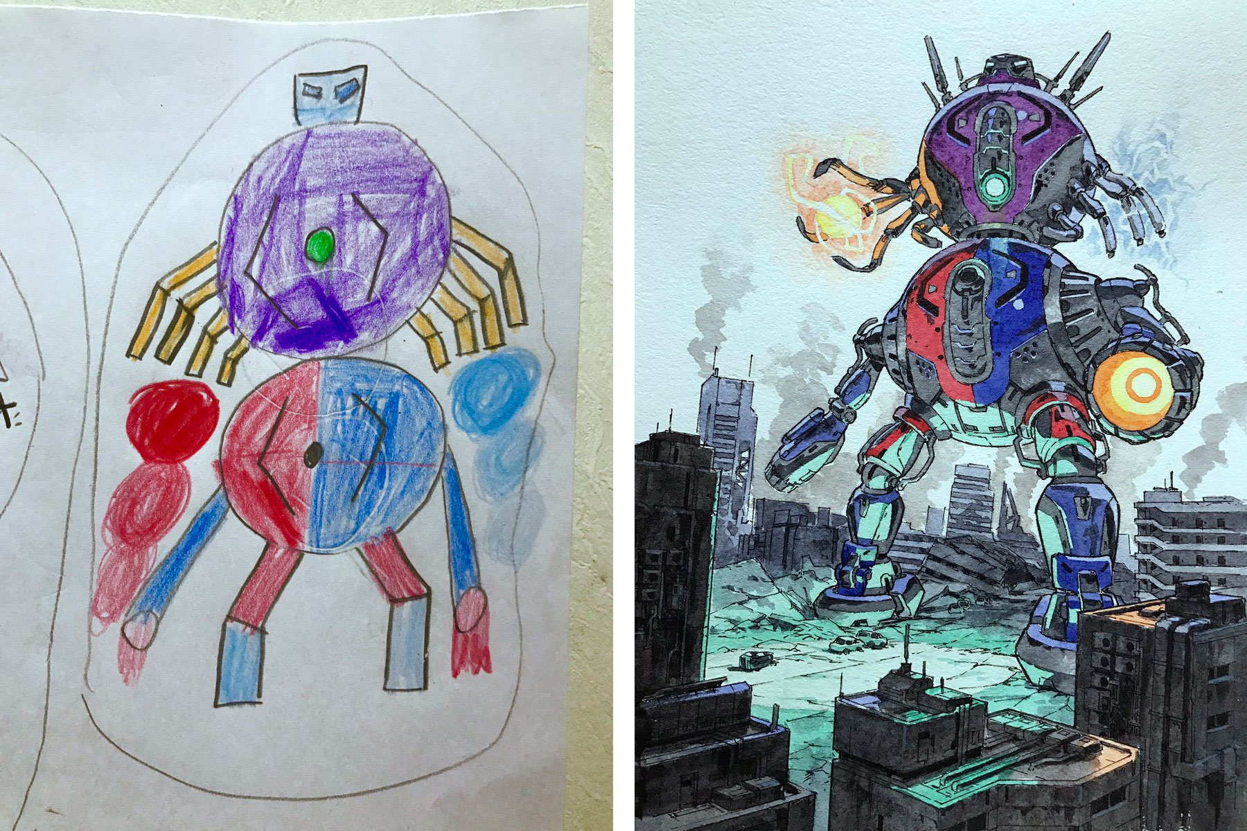 Father Transforms his Son's Drawings into Amazing Works of Art